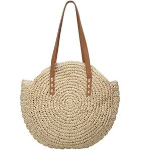 Woven Straw Large Round Summer Tote Bag